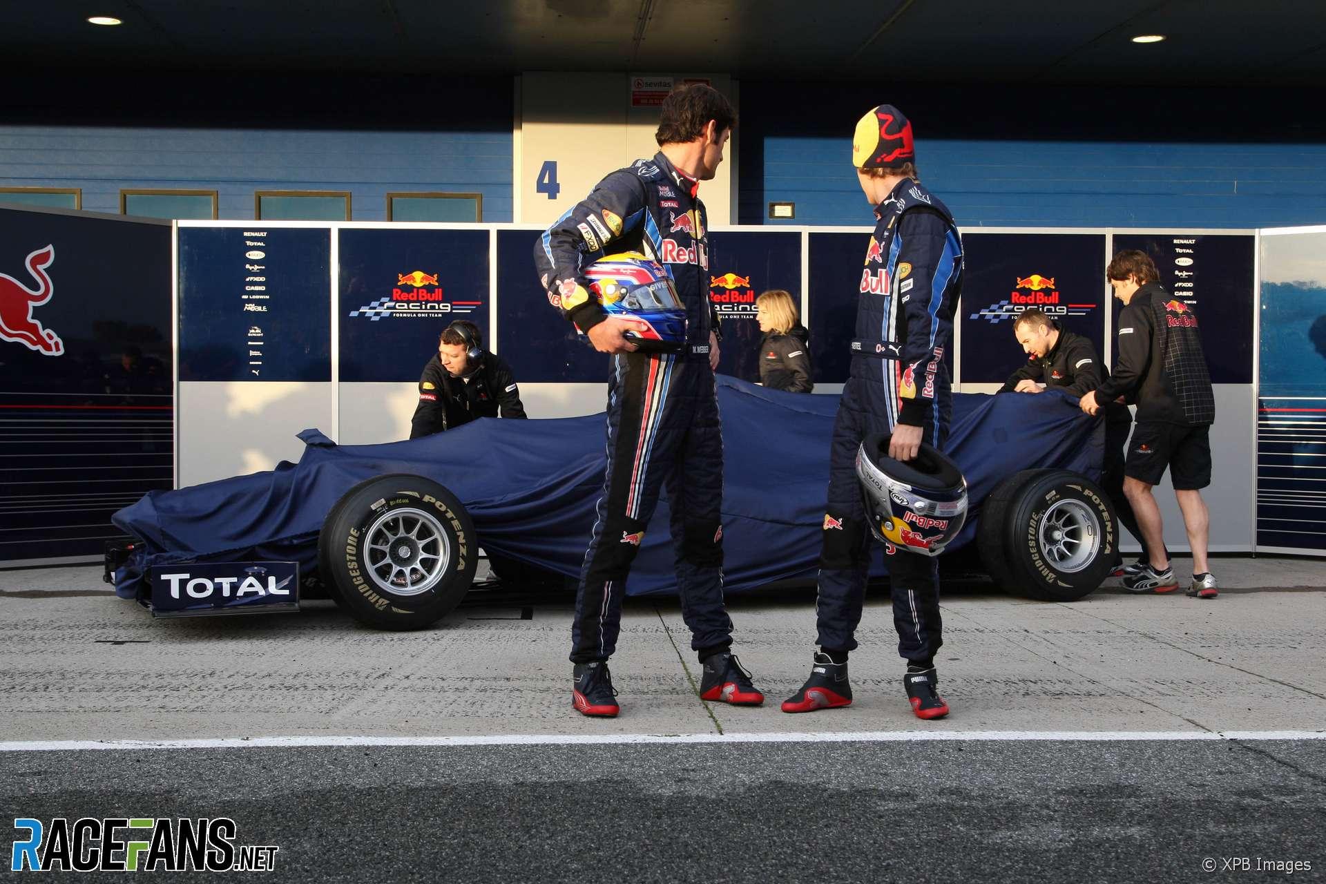 Mark Webber, Sebastian Vettel, Red Bull RB6 Launch, Jerez, 2010