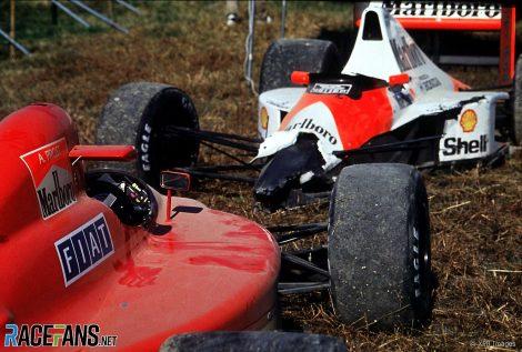Alain Prost and Ayrton Senna's damaged cars, Suzuka, 1990