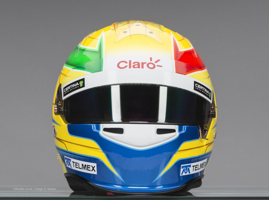 Esteban Gutierrez helmet, front, Sauber, 2014