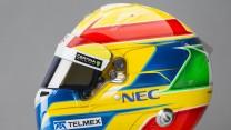 Esteban Gutierrez helmet, left, Sauber, 2014