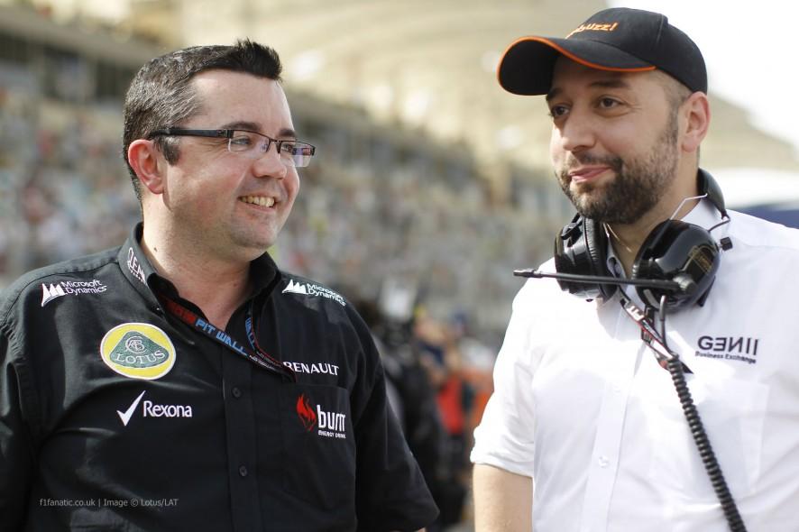 Eric Boullier, Gerard Lopez, Lotus, Bahrain, 2013