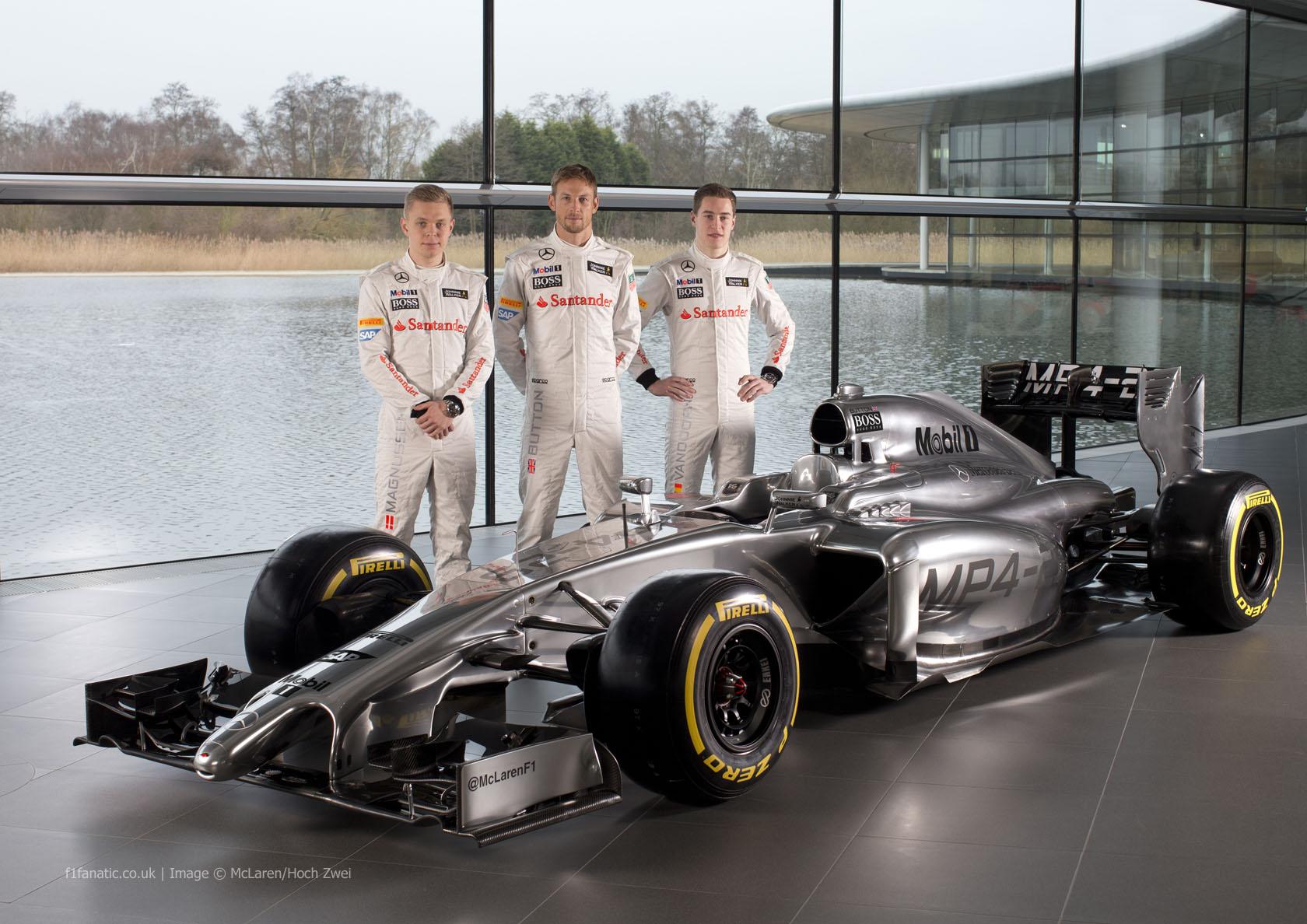 Kevin Magnussen, Jenson Button, Stoffel Vandoorne, McLaren MP4-29, 2014
