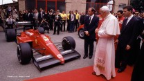 The pope examines the Ferrari F1/87/88C in 1988