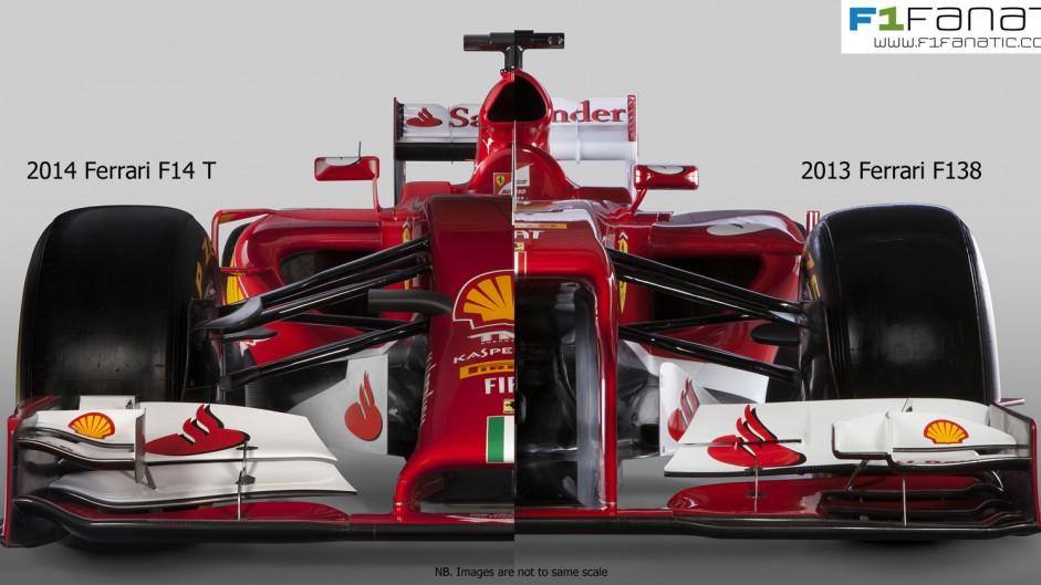 Ferrari F14 T and F138 compared