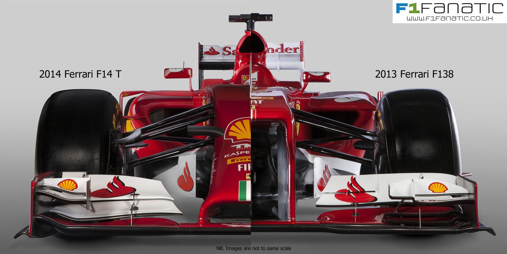 Ferrari F14 T and F138 - front