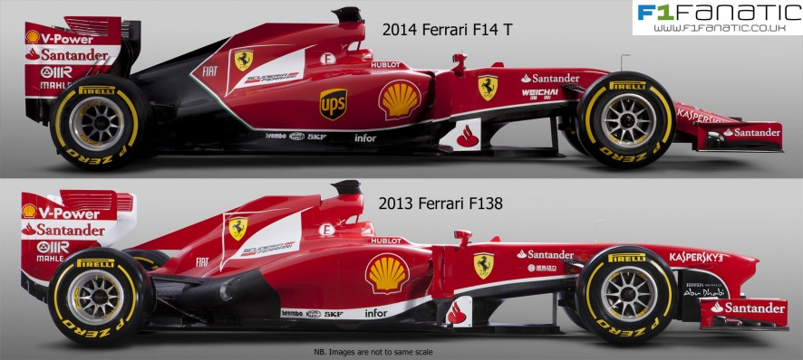 Ferrari F14 T and F138 - side