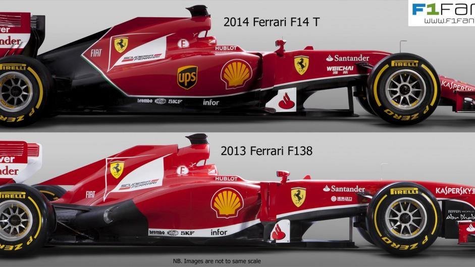 Ferrari F14 T and F138 - side
