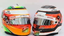 Sergio Perez amd Nico Hulkenberg helmets, Force India, 2014