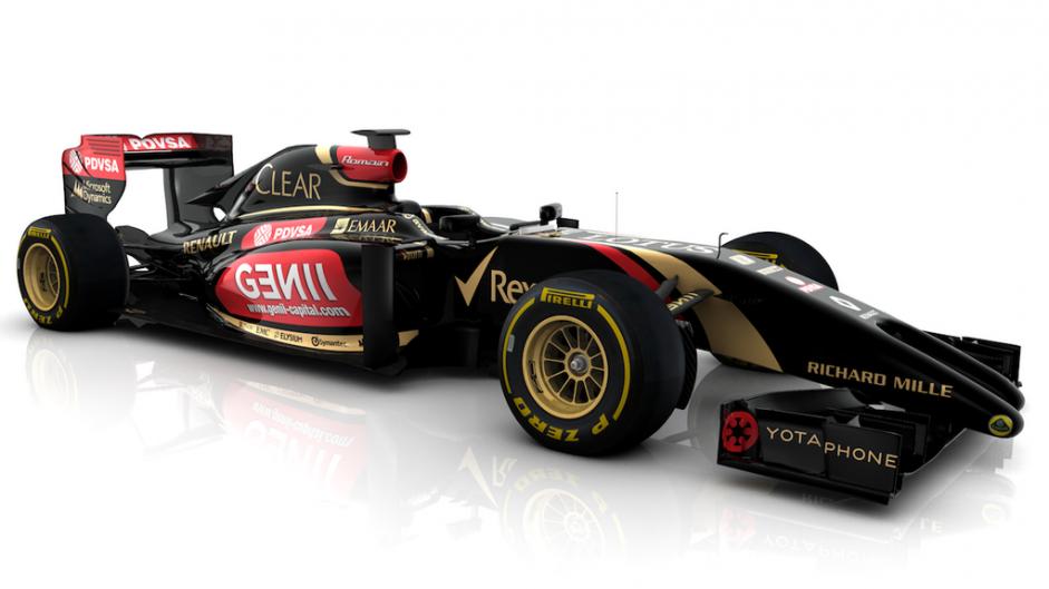 Lotus E22 render, front three-quarter, 2014