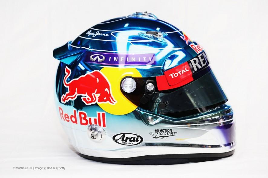 Sebastian Vettel helmet, Red Bull, Jerez, 2014