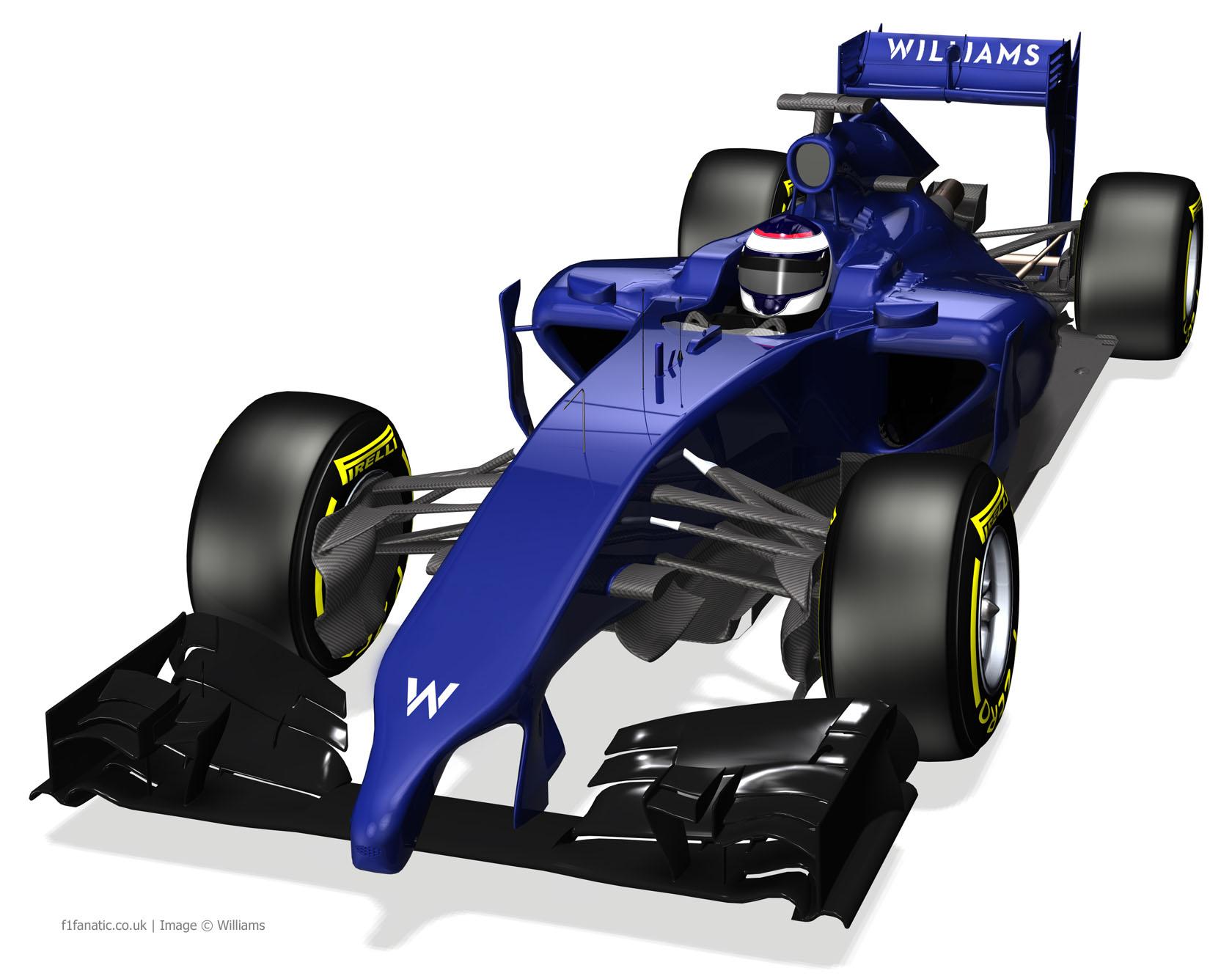 Williams FW36 render, front three-quarter, 2014