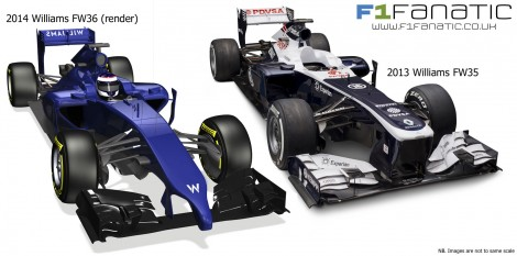 Williams FW36 and FW35 compared