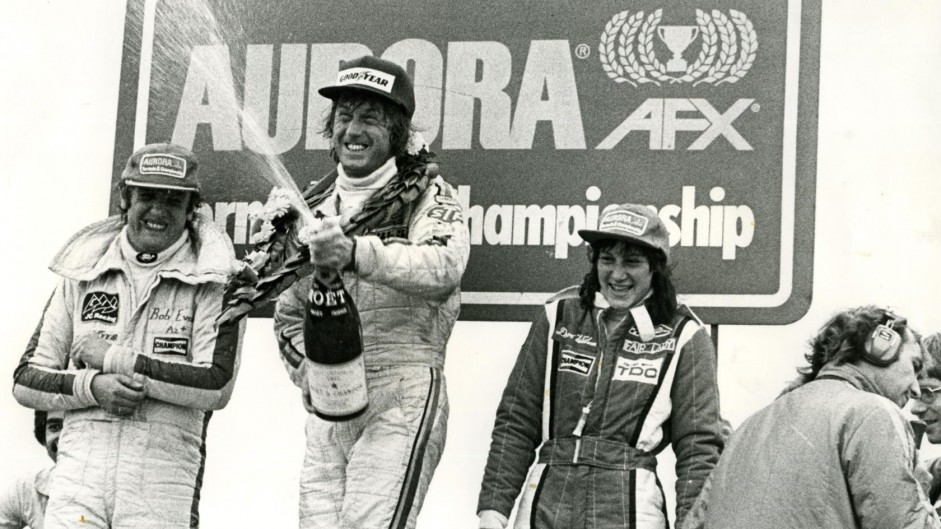 Bob Evans, Guy Edwards, Desire Wilson, Thruxton, Aurora AFX British F1 series, 1978