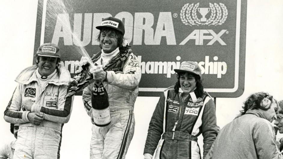 Bob Evans, Guy Edwards, Desire Wilson, Thruxton, Aurora AFX British F1 series, 1978