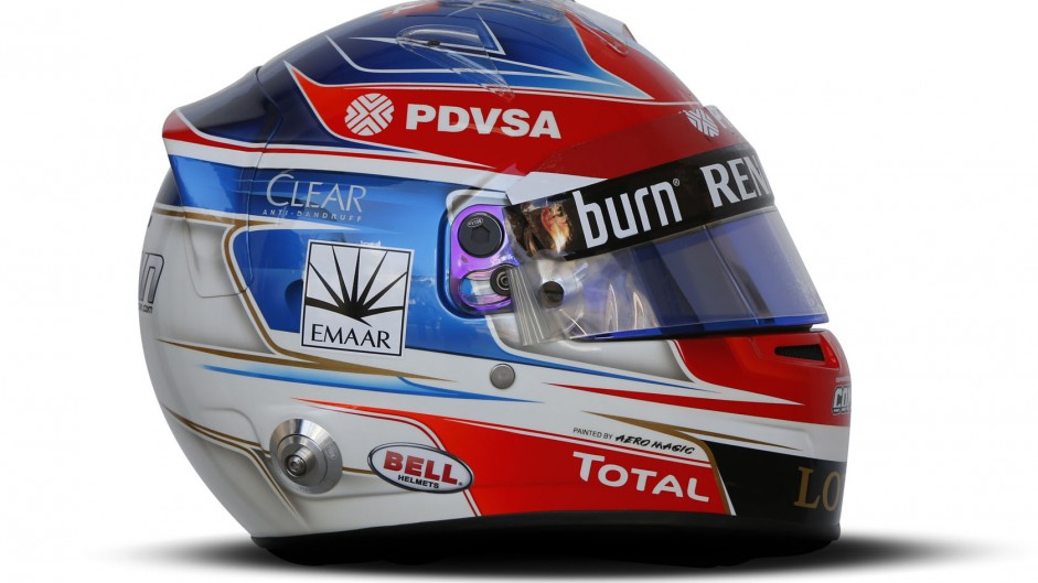 Romain Grosjean helmet, Lotus, Bahrain, 2014