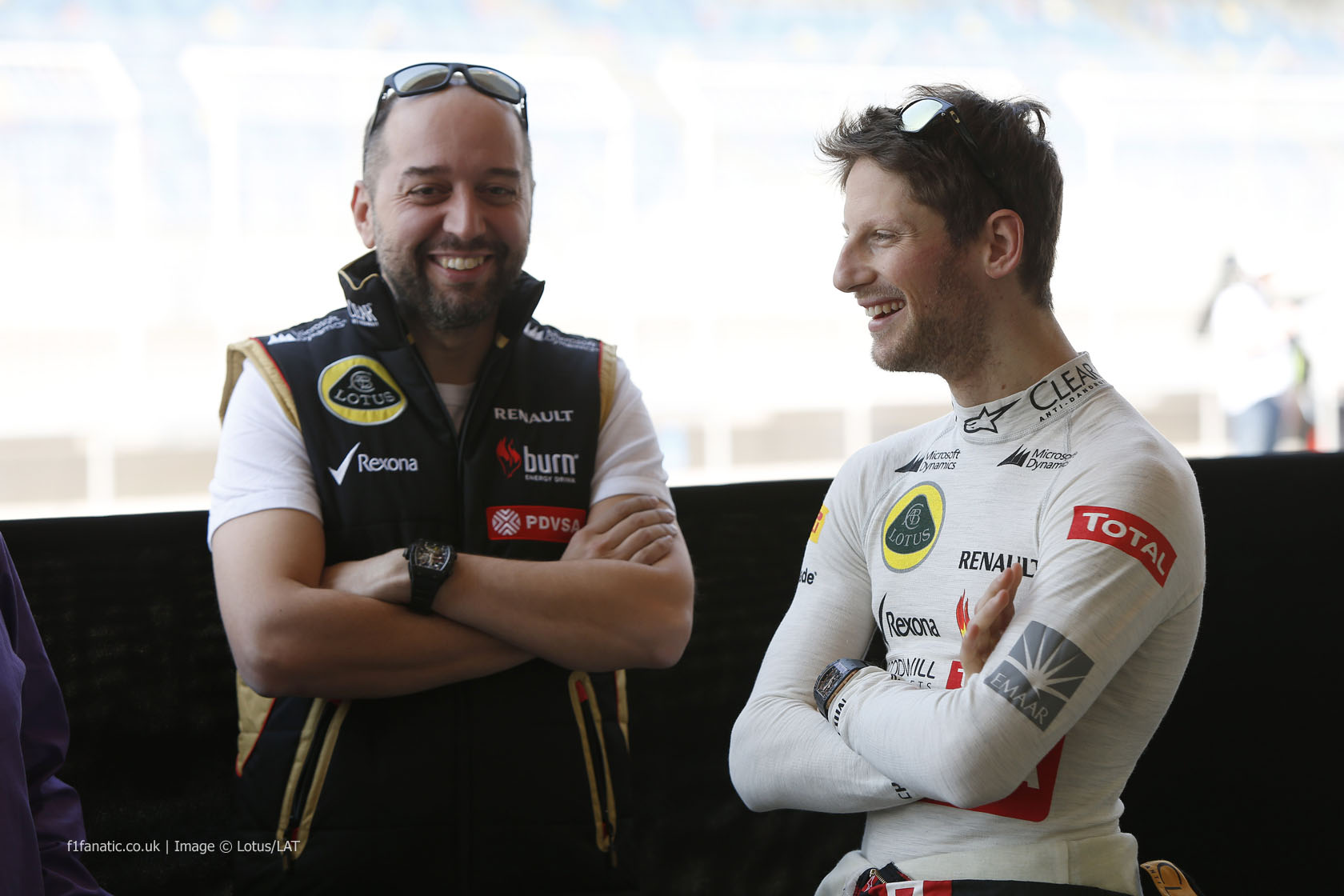 Gerard Lopez, Romain Grosjean, Lotus, Bahrain, 2014