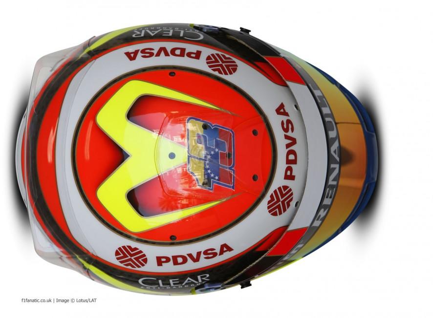 Pastor Maldonado helmet, Lotus, Bahrain, 2014