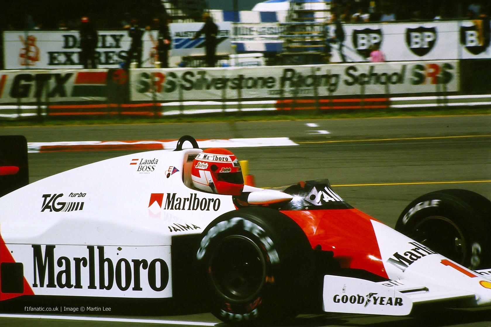 Niki Lauda, McLaren, Silverstone, 1985