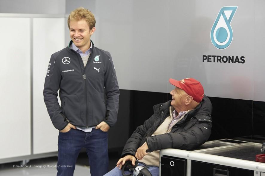 Nico Rosberg, Niki Lauda, Mercedes, Bahrain, 2014