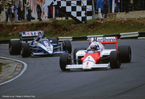 Alain Prost, Rene Arnoux, Brands Hatch, 1986