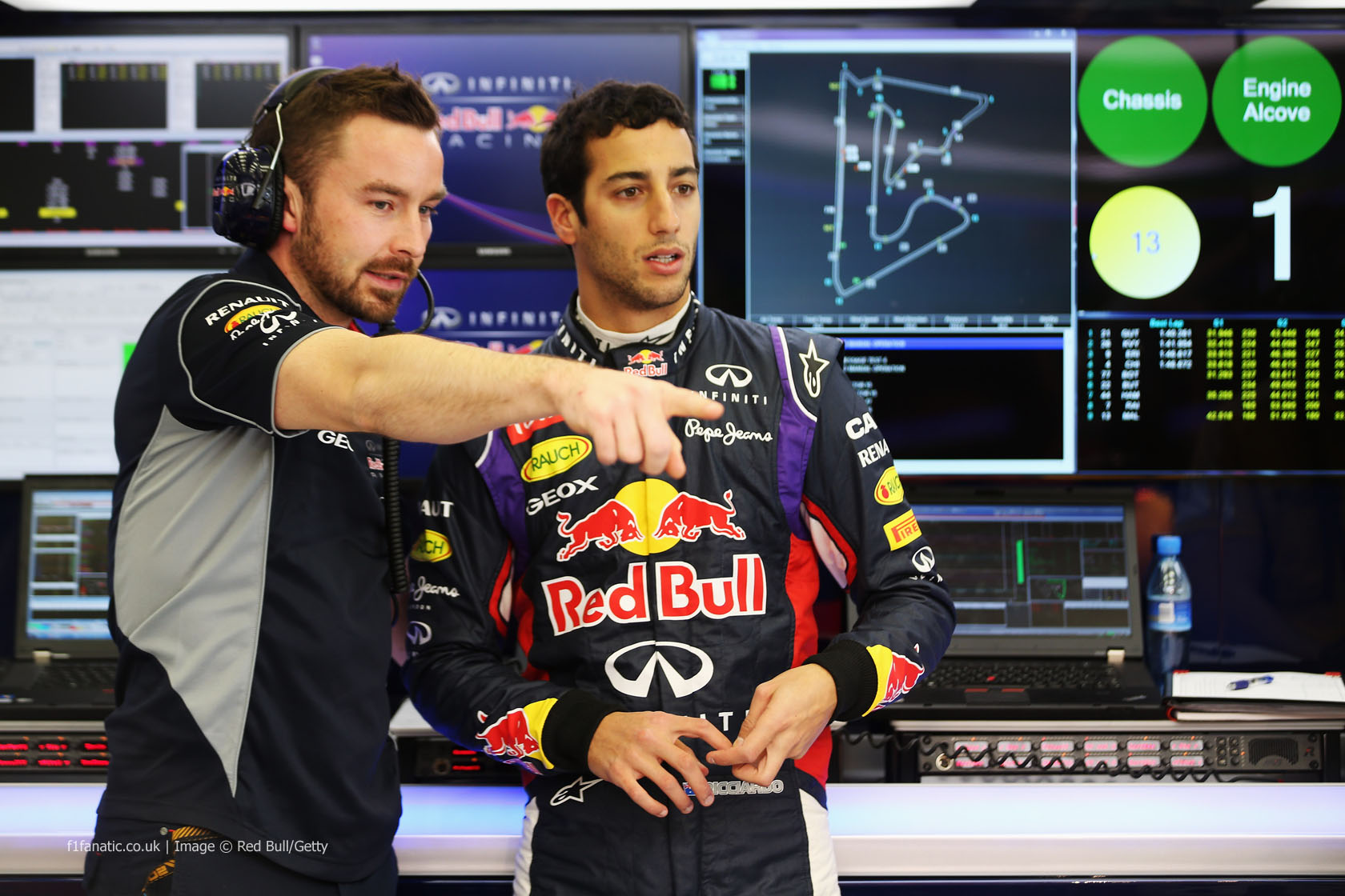 Daniel Ricciardo, Simon Rennie, Red Bull, Bahrain, 2014
