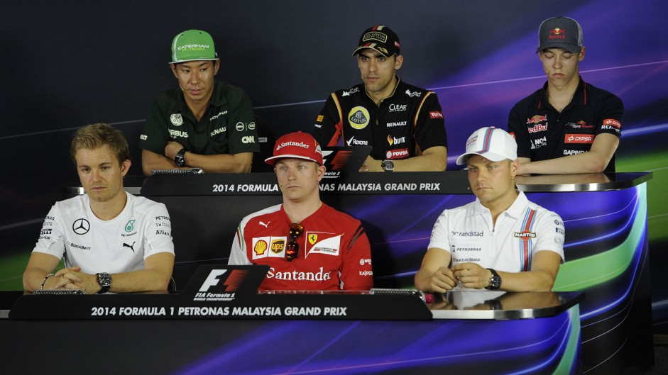 Kamui Kobayashi, Pastor Maldonado, Daniil Kvyat, Nico Rosberg, Kimi Raikkonen, Valtteri Bottas, Sepang International Circuit, 2014
