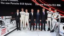 Porsche team, Geneva Motor Show, 2014