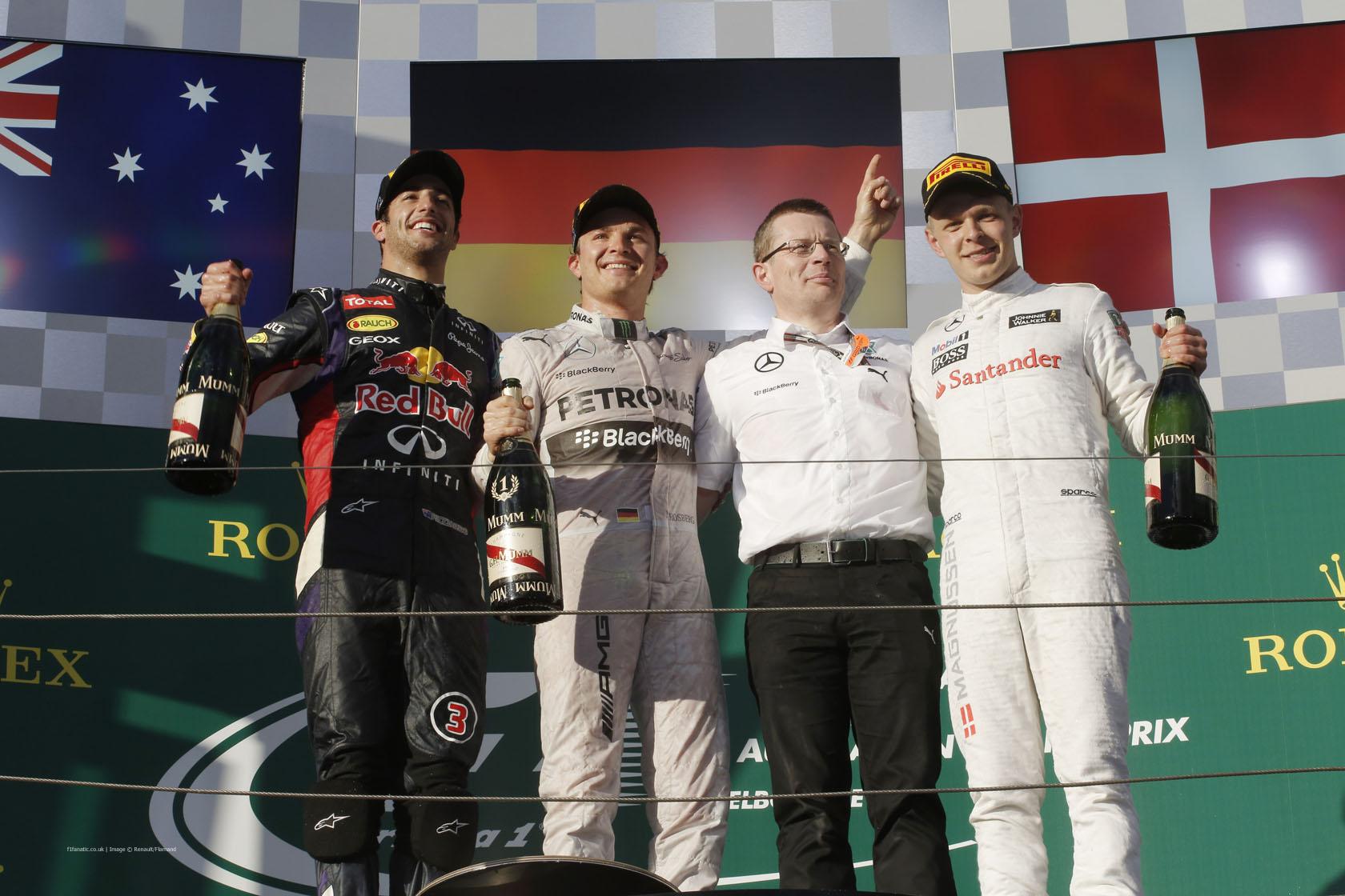 Daniel Ricciardo, Nico Rosberg, Kevin Magnussen, Melbourne, 2014