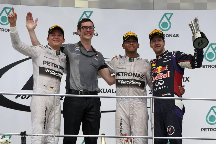 Nico Rosberg, Lewis Hamilton, Sebastian Vettel, Sepang International Circuit, 2014