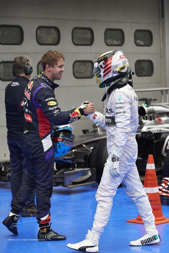 Sebastian Vettel, Lewis Hamilton, Sepang International Circuit, 2014