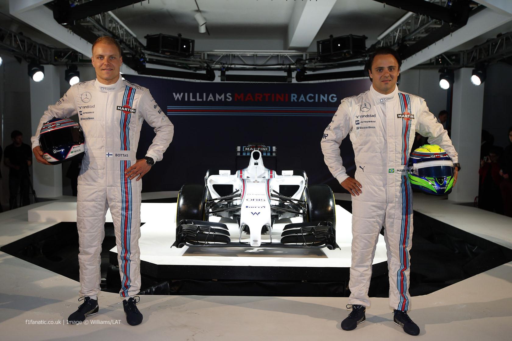 Valtteri Bottas, Felipe Massa, Williams FW36 livery reveal, 2014