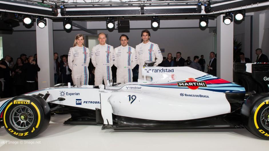 Susie Wolff, Valtteri Bottas, Felipe Massa, Felipe Nasr, Williams FW36 livery reveal, 2014