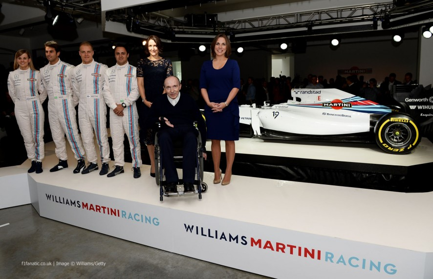 Susie Wolff, Felipe Nasr, Valtteri Bottas, Felipe Massa, Frank Williams, Claire Williams