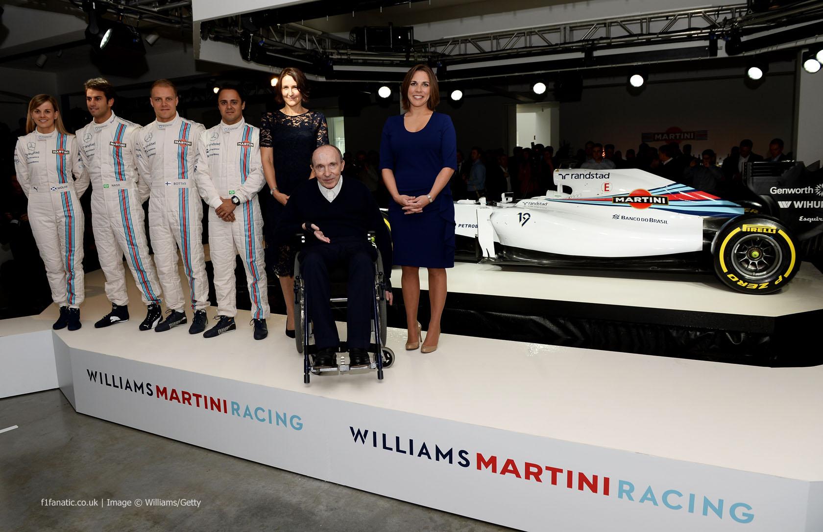 Susie Wolff, Felipe Nasr, Valtteri Bottas, Felipe Massa, Frank Williams, Claire Williams