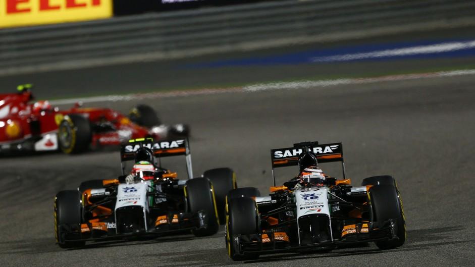 Nico Hulkenberg, Sergio Perez, Force India, Bahrain, 2014
