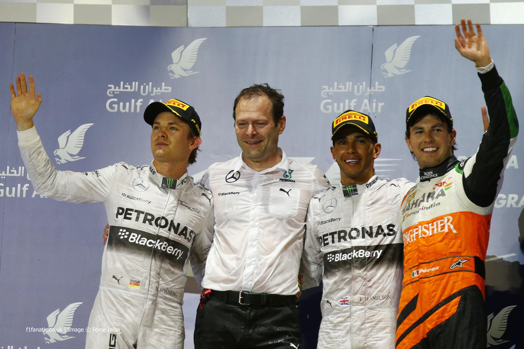 Nico Rosberg, Lewis Hamilton, Sergio Perez, Bahrain International Circuit, 2014