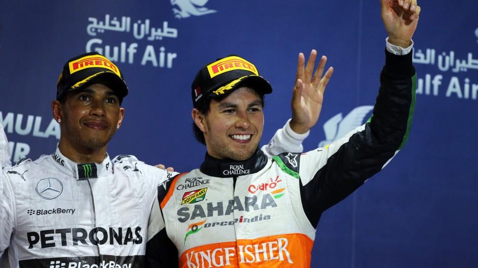 Lewis Hamilton, Sergio Perez, Bahrain, 2014
