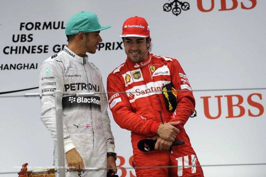 Lewis Hamilton, Fernando Alonso, Shanghai, 2014