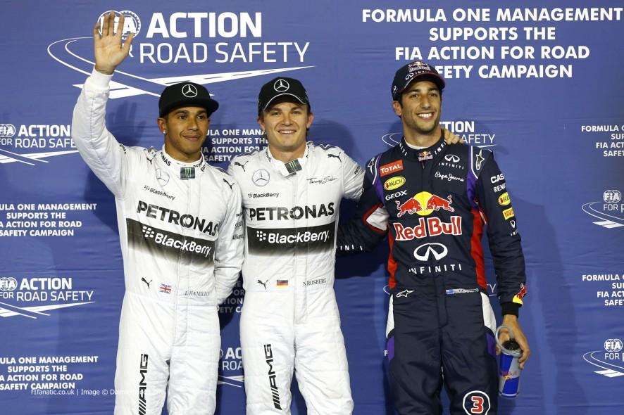Lewis Hamilton, Nico Rosberg, Daniel Ricciardo, Bahrain International Circuit, 2014