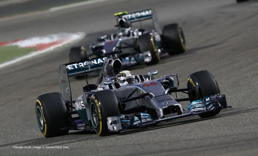 Lewis Hamilton, Nico Rosberg, Mercedes, Bahrain International Circuit, 2014