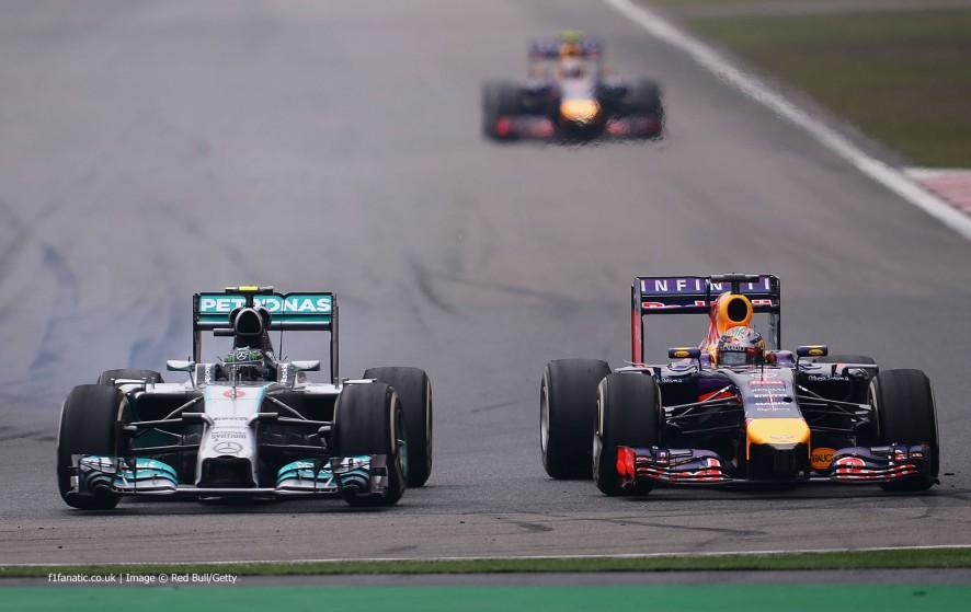 Nico Rosberg, Sebastian Vettel, Shanghai International Circuit, 2014