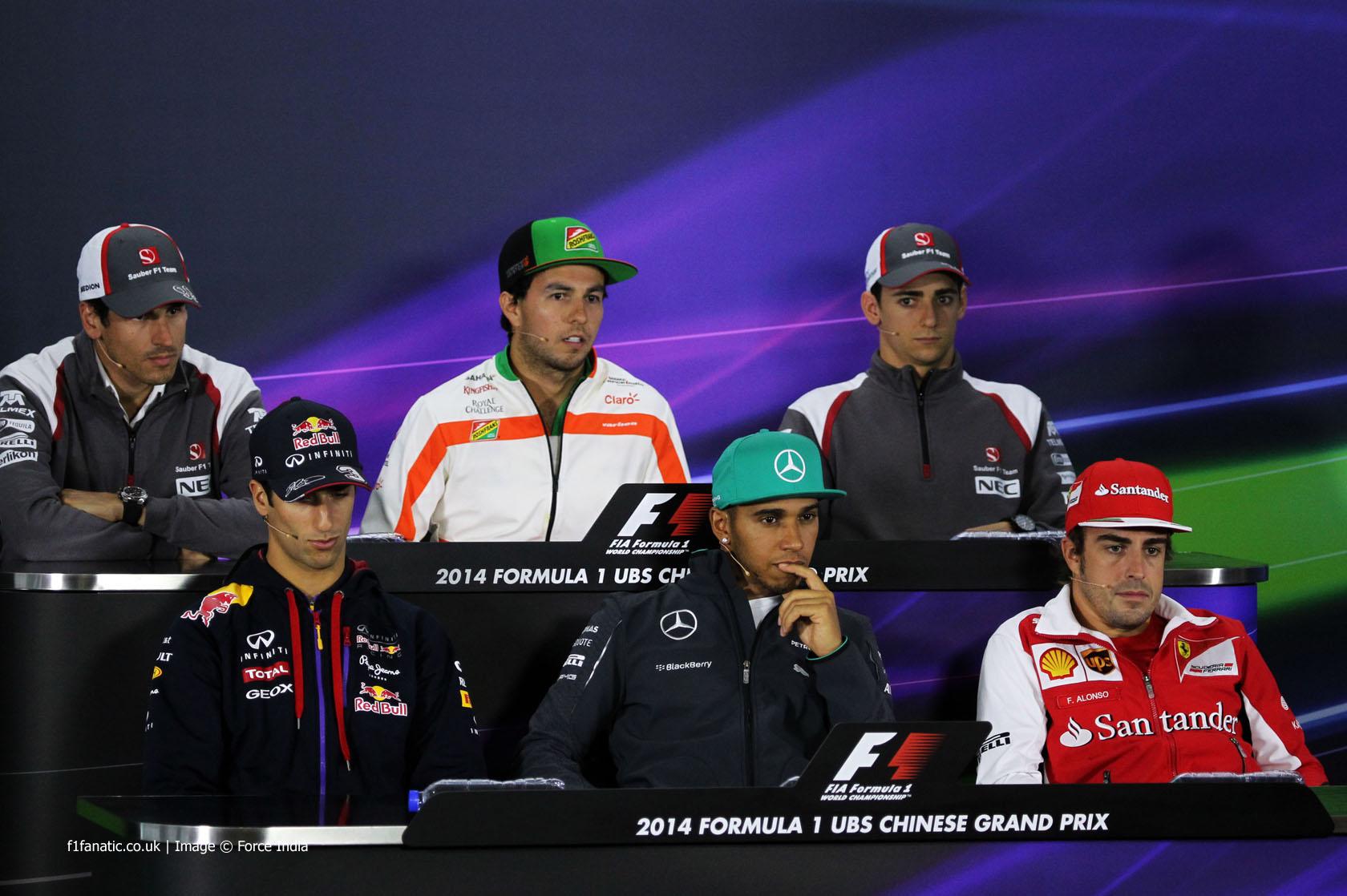 Adrian Sutil, Sergio Perez, Esteban Gutierrez, Daniel Ricciardo, Lewis Hamilton, Fernando Alonso, Shanghai International Circuit, 2014