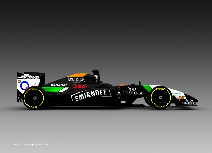 Force India VJM07 Smirnoff branding. 2014