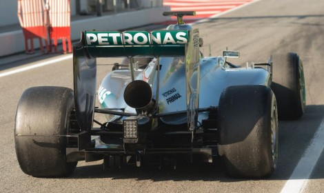 Mercedes exhaust test, Circuit de Catalunya, 2014