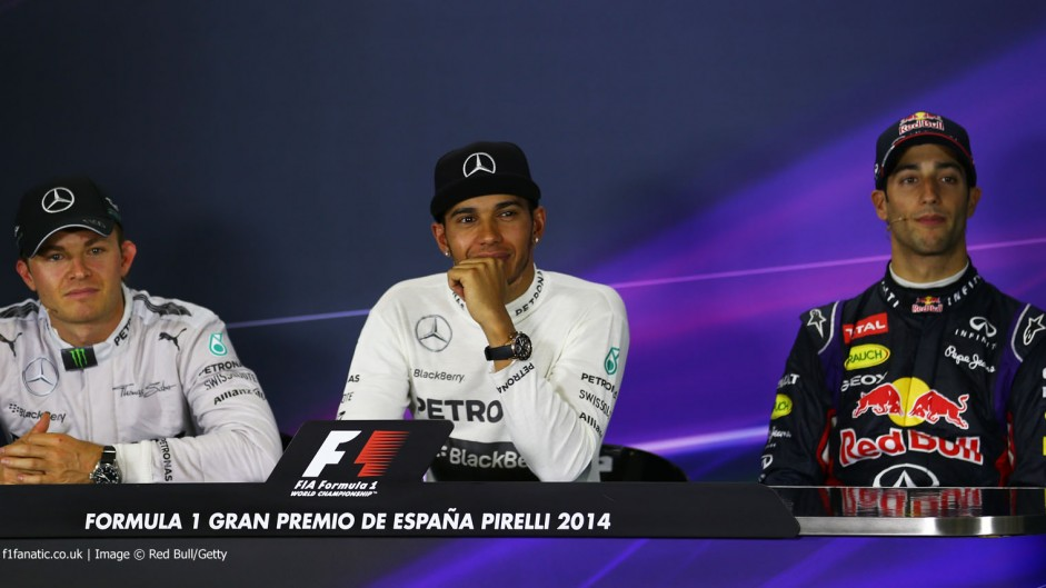 Lewis Hamilton, Nico Rosberg, Daniel Ricciardo, Circuit de Catalunya, 2014