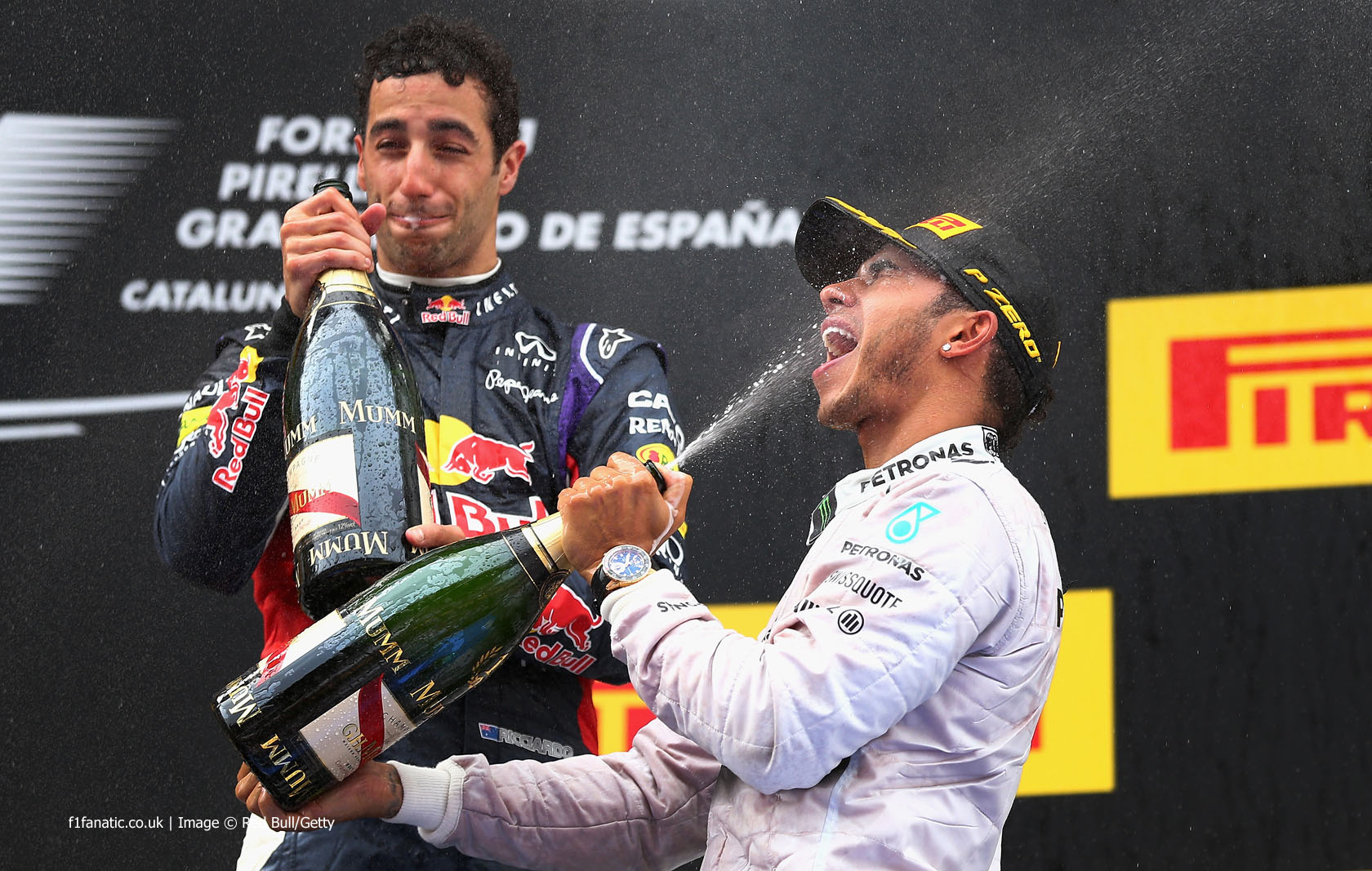 Daniel Ricciardo, Lewis Hamilton, Circuit de Catalunya, 2014