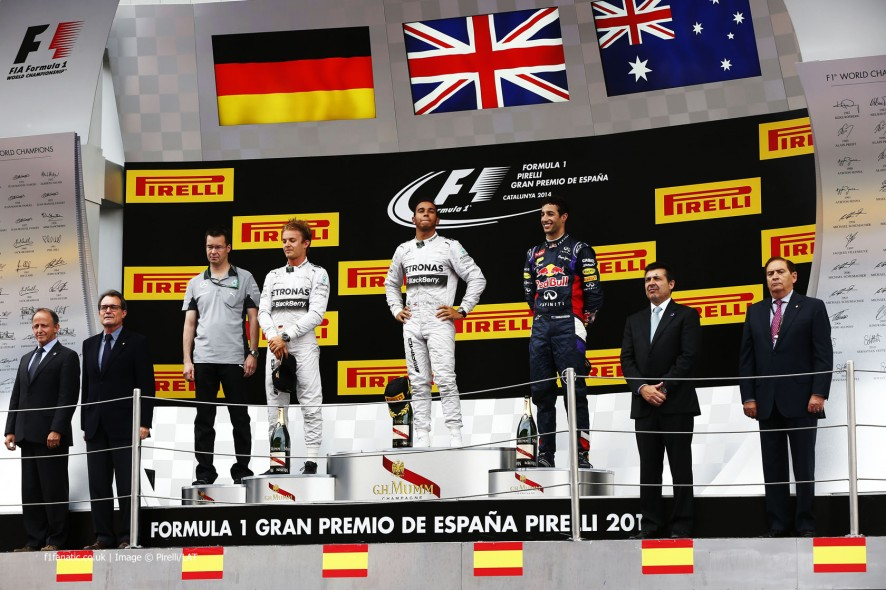Nico Rosberg, Lewis Hamilton, Daniel Ricciardo, Circuit de Catalunya, 2014