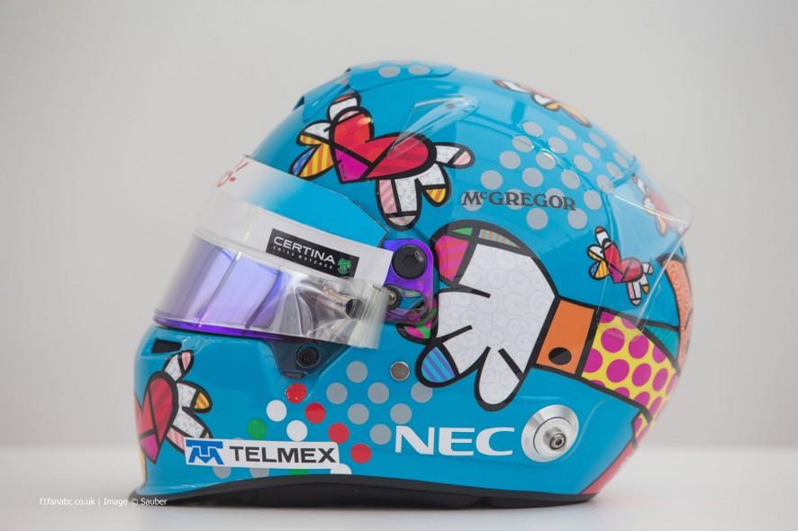 Esteban Gutierrez helmet, Sauber, Monte-Carlo, 2014