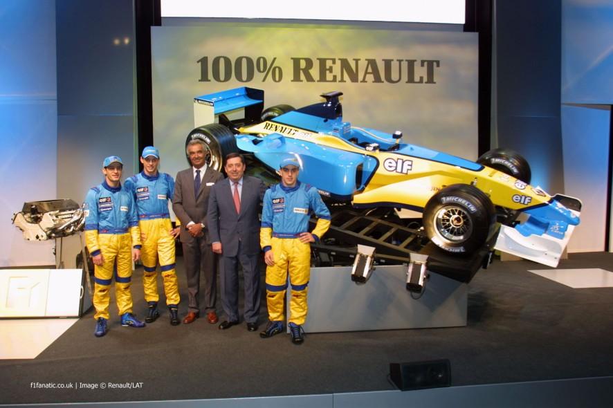 Jarno Trulli, Jenson Button, Flavio Briatore, Patrick Faure, Fernando Alonso, Renault R202 launch, 2002
