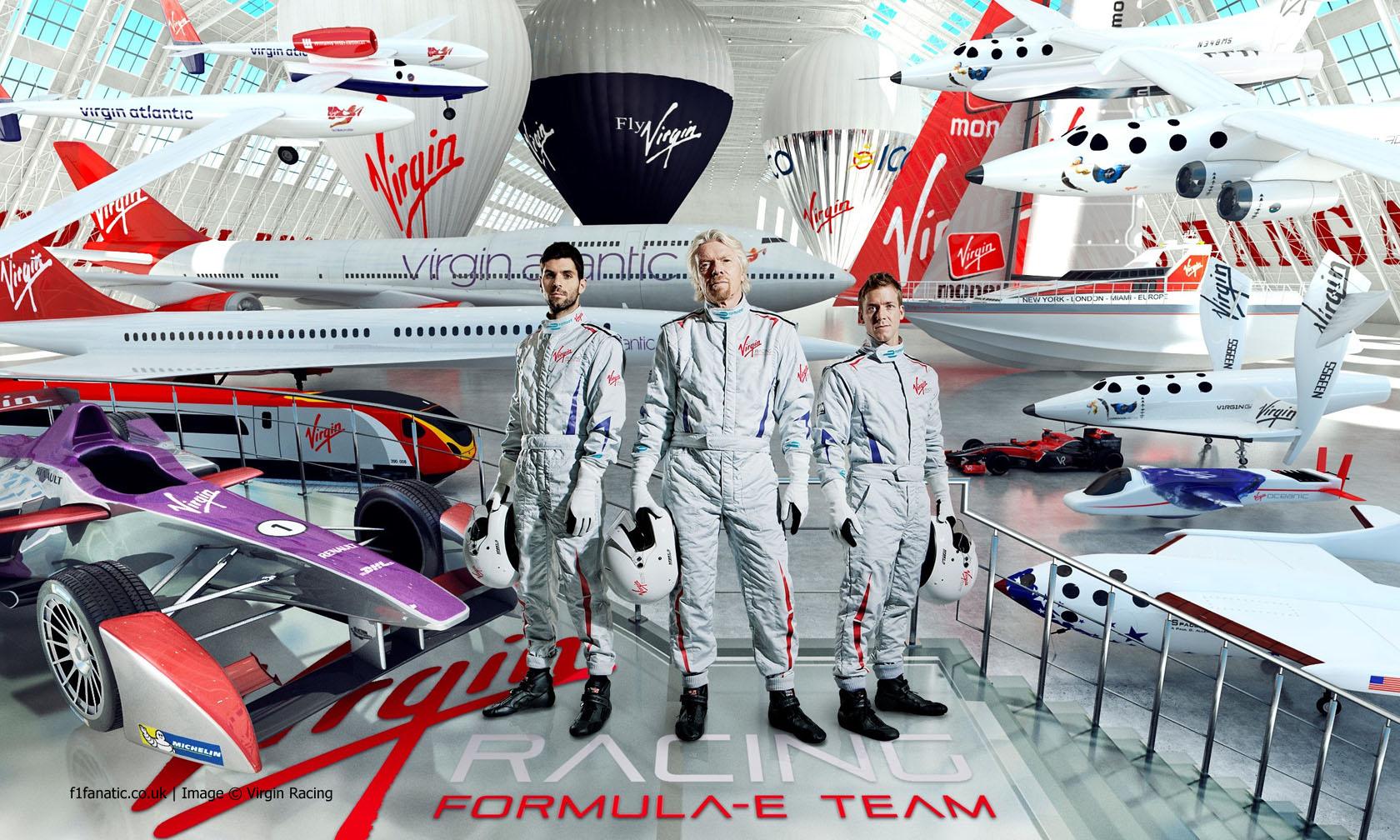 Jaime Alguersuari, Richard Branson, Sam Bird, Virgin Racing Formula E Team, 2014